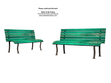 front of green benches stock