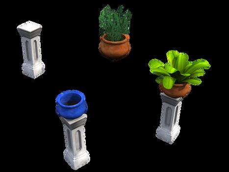 Plants, pots n pillars accents