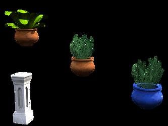 Plants, pots, pillars in PNG