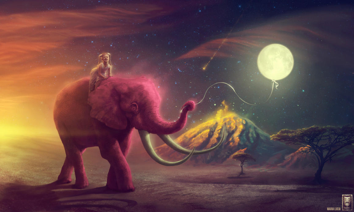 Elephant traveler / My pink elephant by ImaginateArtwork
