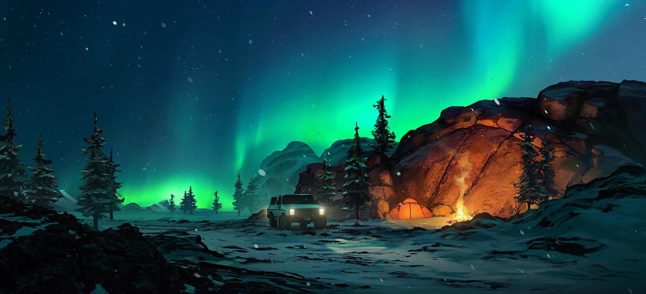 Aurora Campfire by HjalmarWahlin