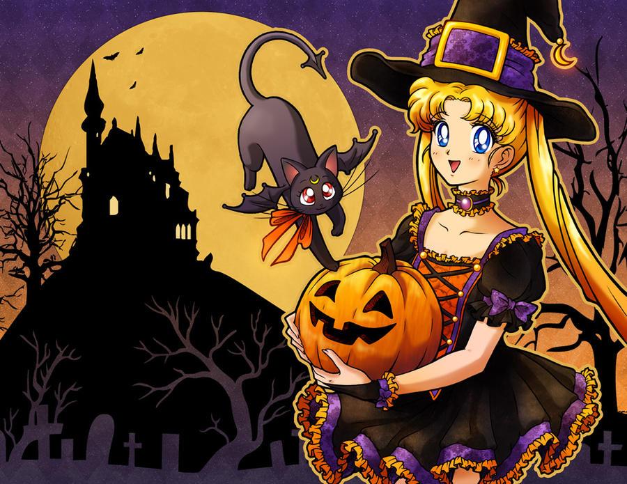 sailor moon says happy halloween by keah