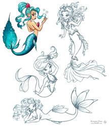 Pin-up Mermaids by Keah