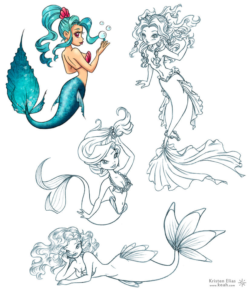 pin up mermaids by keah on deviantart. Black Bedroom Furniture Sets. Home Design Ideas