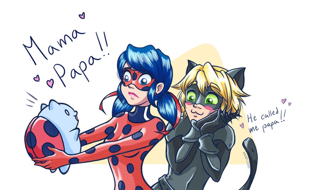 Happy Catbug Family by Keah