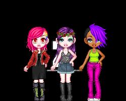the dark girls trio by Creepyschoolgirl