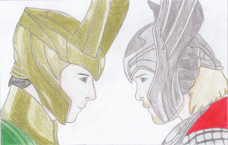 Thor and Loki by Purewhitedevil