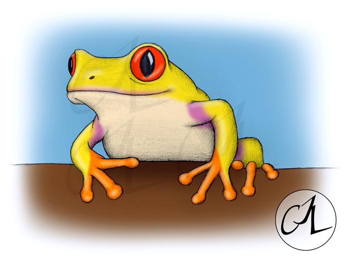 Yellow Sitting Frog by lordcrazy22