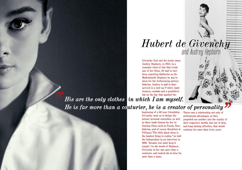 Givenchy and Audrey Hepburn - Magazine Layout