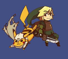 Link and Pikachu by BuBuBu-Bu-BuBu