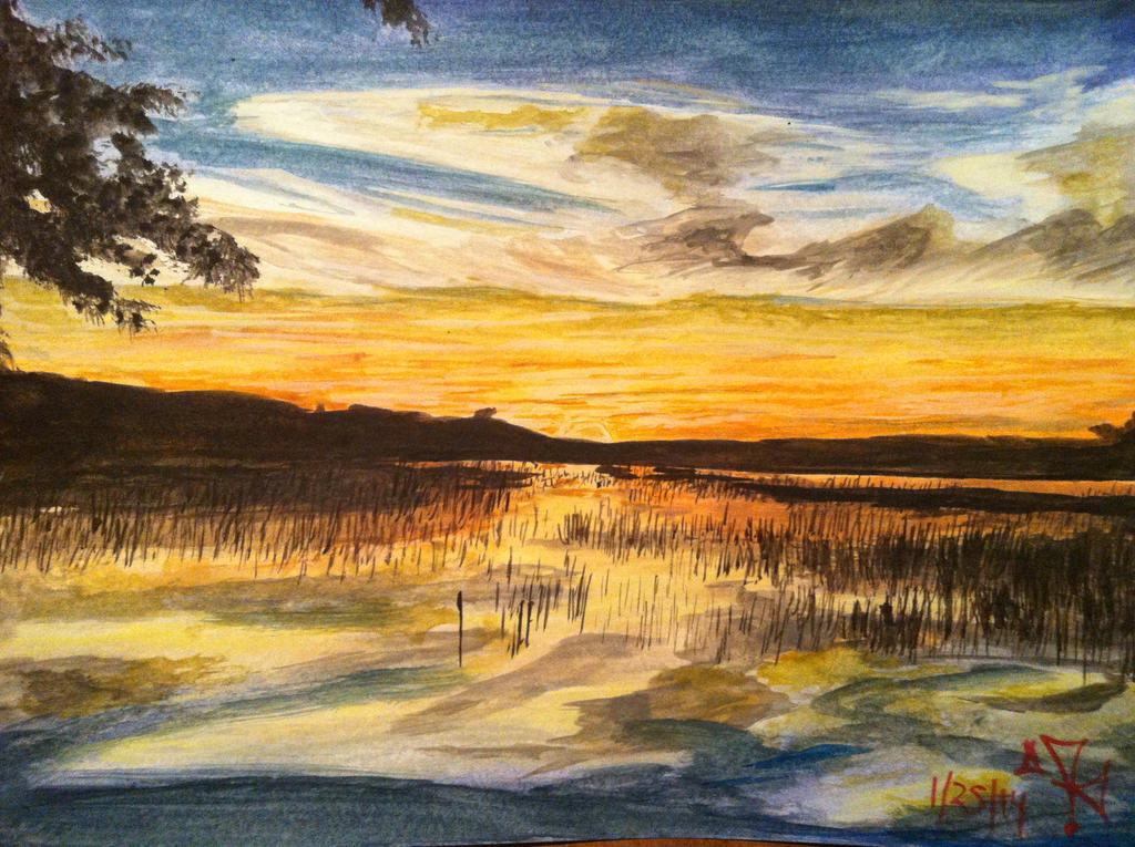 coosaw sc sunset watercolor by vermontsushi