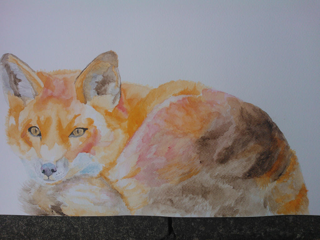 Watercolour Fox #6 by WolfieSpirit9