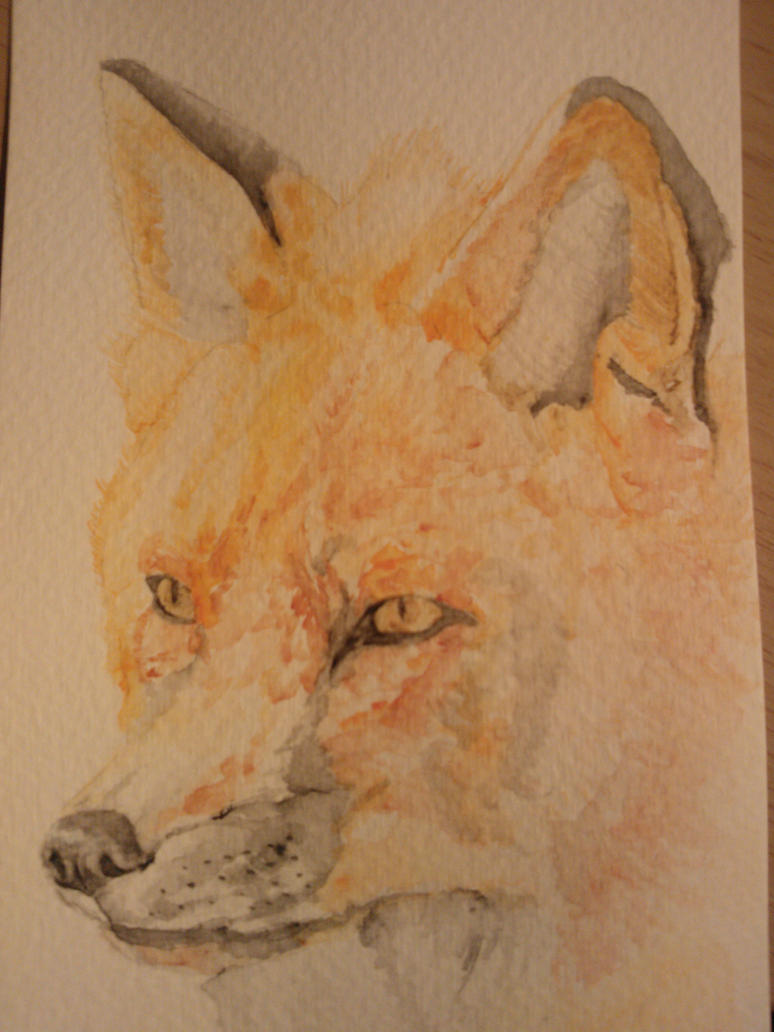Watercolour Fox #7 by WolfieSpirit9