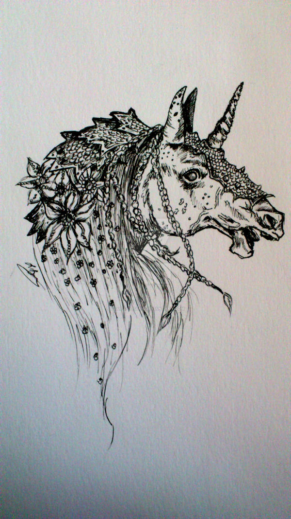 Undead Unicorn Doodle by Laura-Bosley