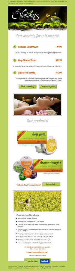 Elements Day Spa Emailer