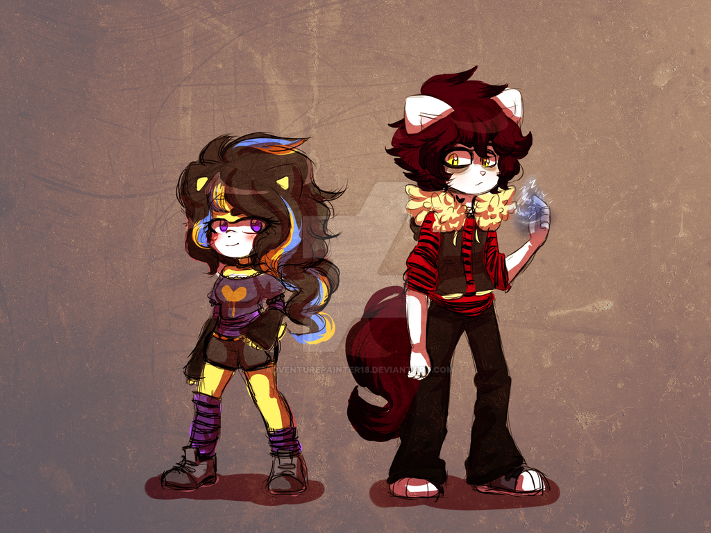 Rina the hedgehog and Thomas the cat by adventurepainter18