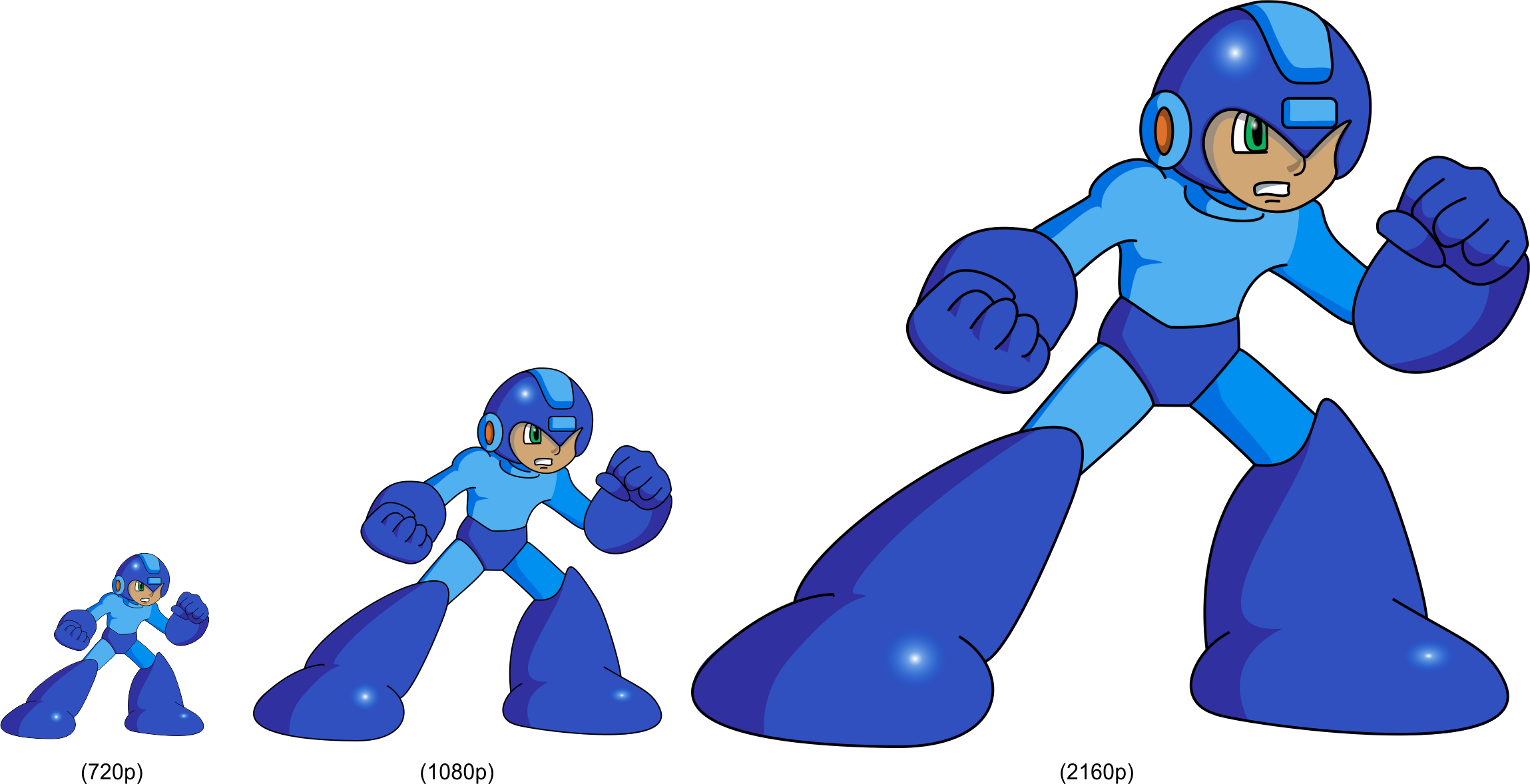 Megaman HD Sprite Test (720p To 2160p) By Blac-Dragoon On