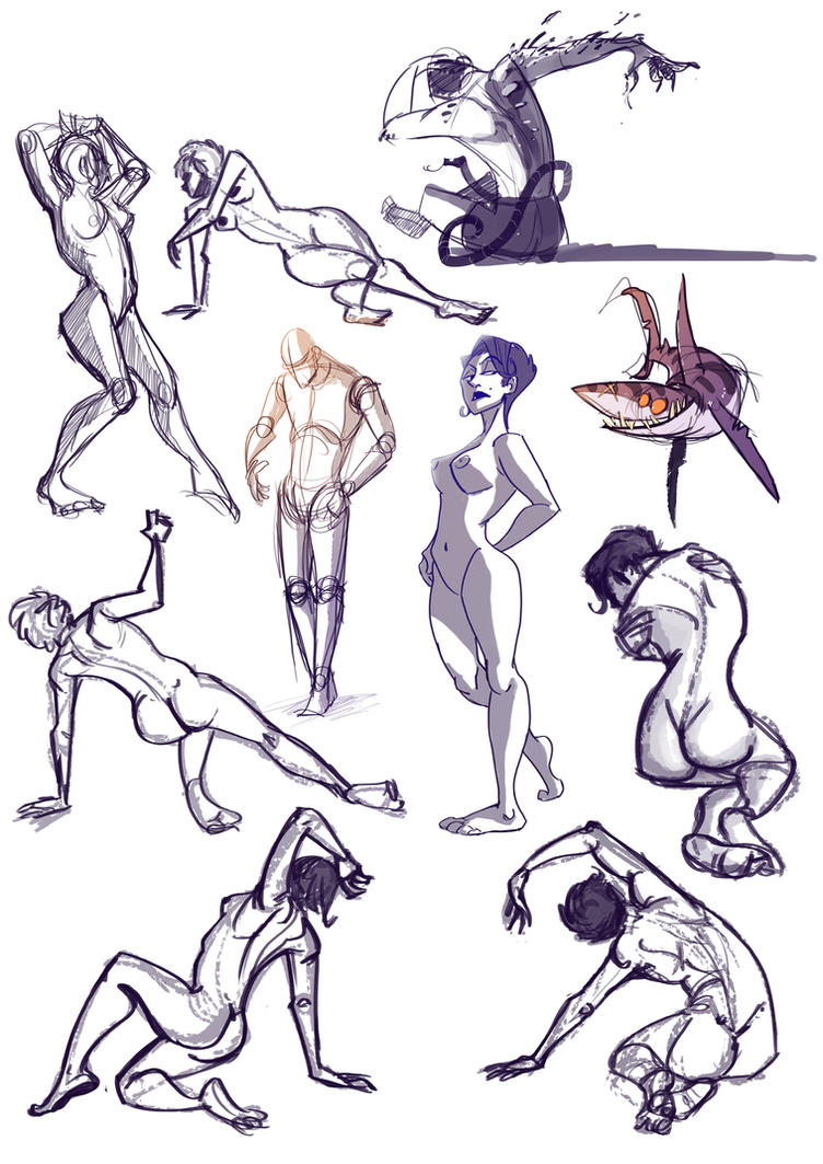 Model poses and a purple shark by Tanimatic