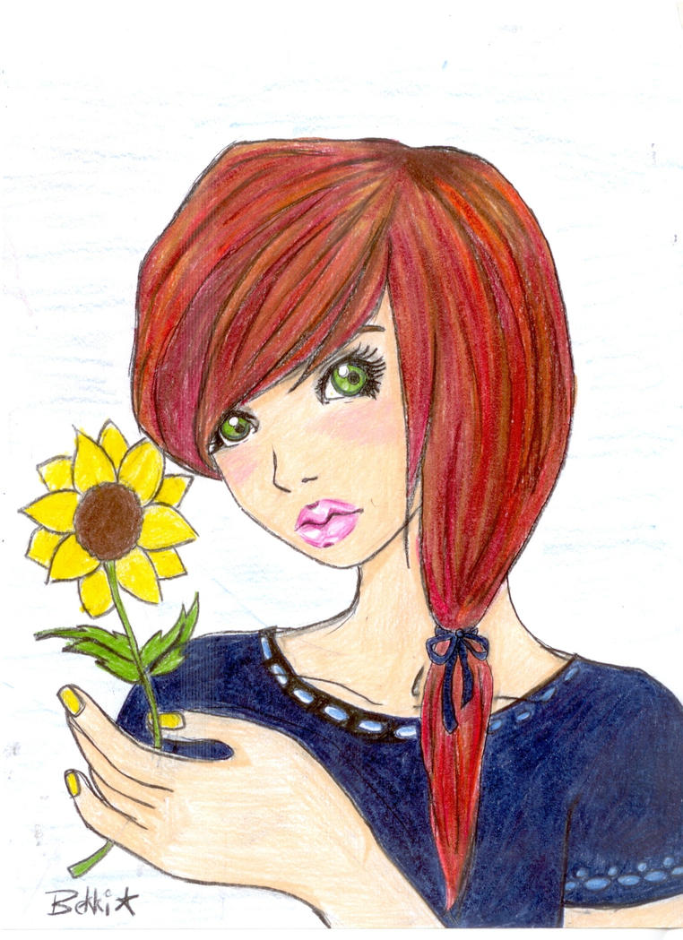 Girl with Sunflower by smudgedfingers