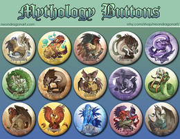 15 Mythology Buttons Set