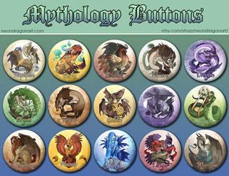 15 Mythology Buttons Set by neondragon