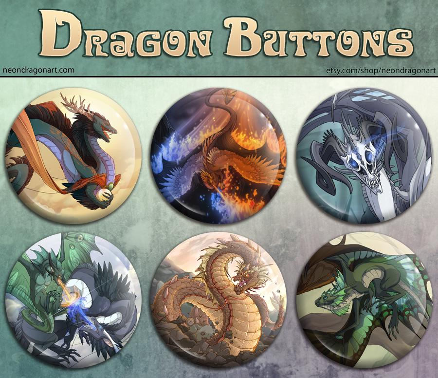 Dragon Button Set by neondragon
