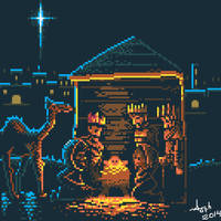 The Birth of Jesus Christ - pixel art by Aw0