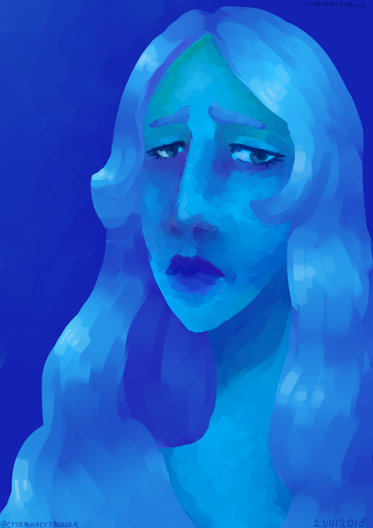 i think i made her hair to dark i need to learn how to shade light objects because it's common mistake in my drawings  anyway hope you'll like it character is blue diamond from steven universe...