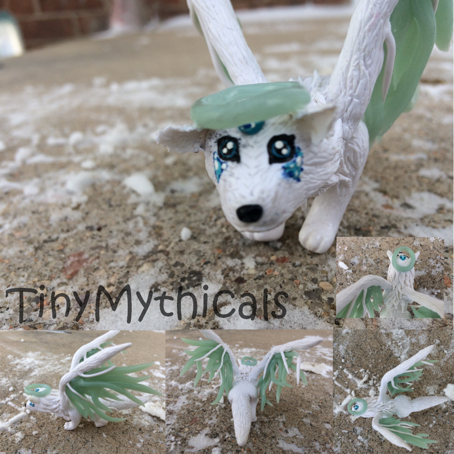 Snowfox Angel (Commission) Polymer Clay by TinyMythicals