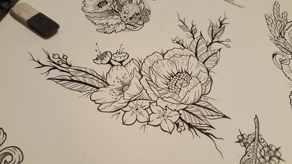 Fine Line Art : Floral fineline tattoo sketch by james tripleace on deviantart