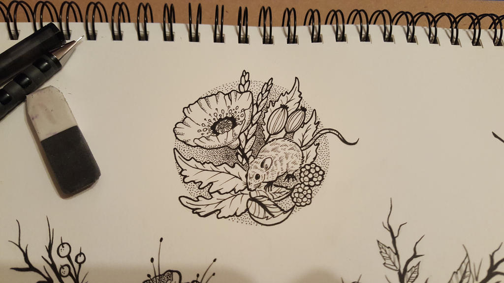 Fine Line Art : Mouse and floral fineline tattoo sketch by james tripleace on deviantart