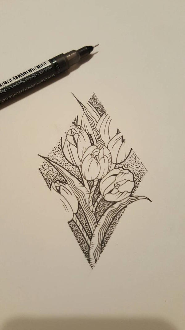 tulips and dotwork fineline tattoo sketch by james tripleace on deviantart. Black Bedroom Furniture Sets. Home Design Ideas