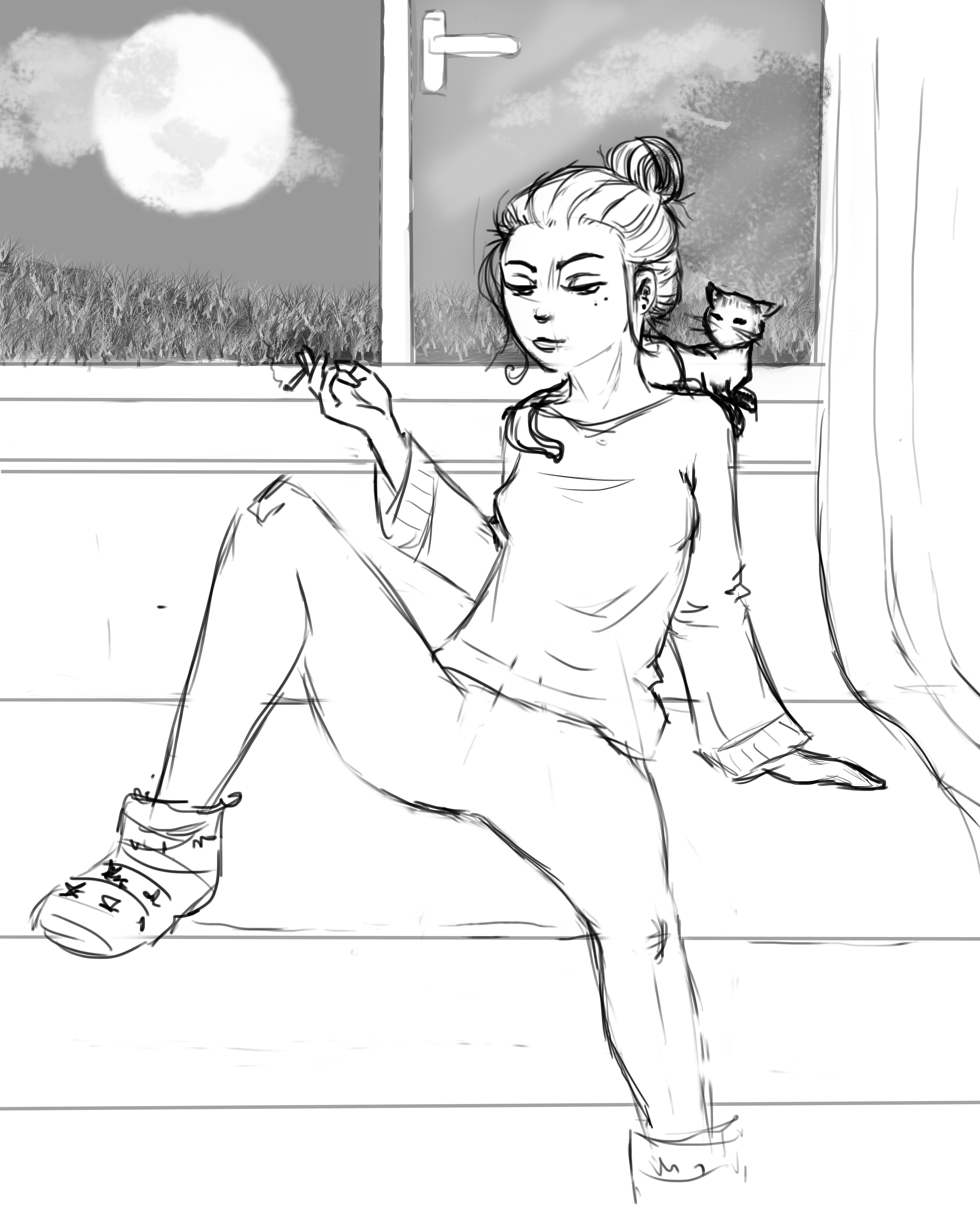 Girl and cat Sketch by RepaintLife