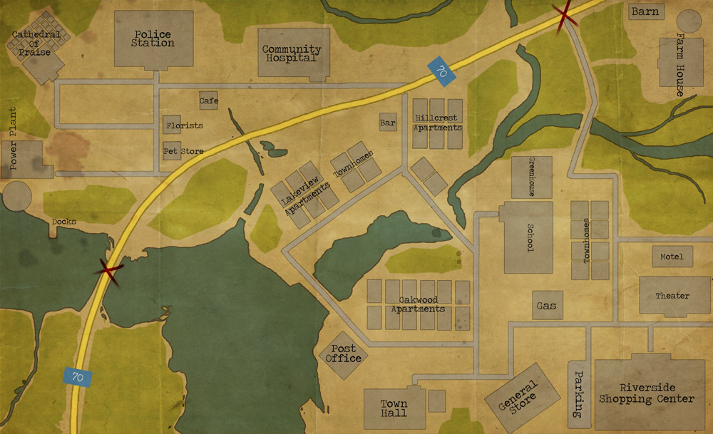 Riverside, Tennessee Town Map by LittleWolfHands