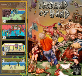 Legend of Hand - retro game boxart cover design