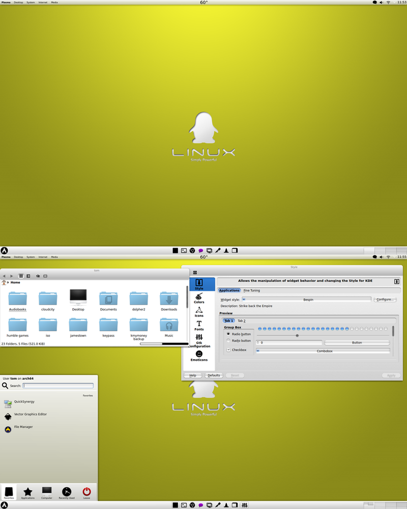 Golden Tux Arch KDE by CraazyT