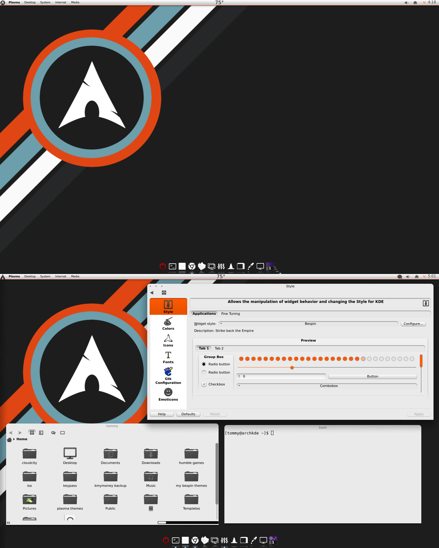 KDE Arch With a Hint of Orange by CraazyT