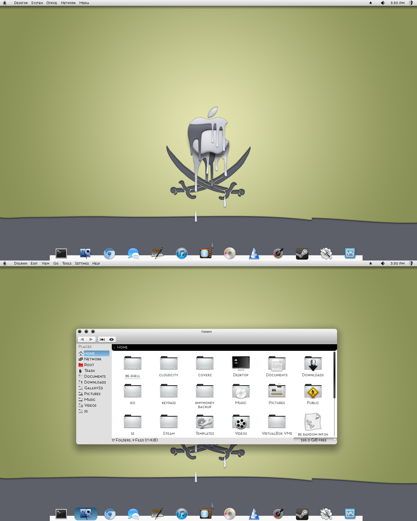 Kubuntu 12.10 KDE /BE::Shell/Bespin by CraazyT