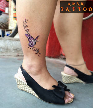 Butterfly Tattoo on Leg by AMAR