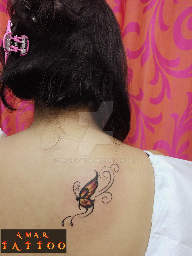 butterfly tattoo on back of neck by amar by amartattoo on deviantart. Black Bedroom Furniture Sets. Home Design Ideas