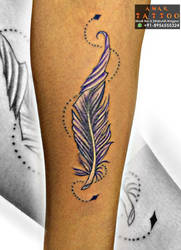 Beautiful Wrist featherTattoo by AMARTATTOO