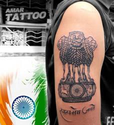 Ashoka Stambh tattoo national emblem of India tat by AMARTATTOO