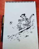 Calvin and Hobbes - sketch by Nekr0ns