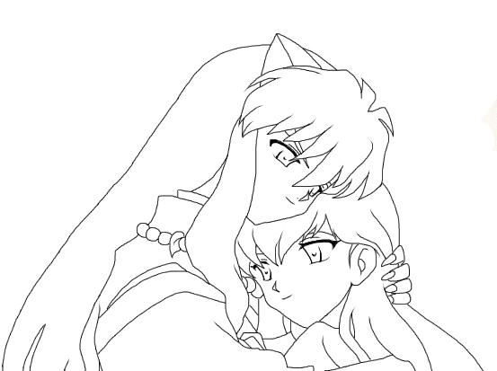 Kagome And Inuyasha Uncolored By Vespi