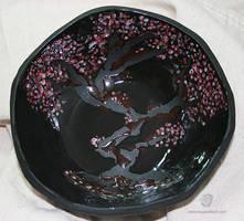 Japanese Sakura Cherry Blossom Bowl by leopardwolf
