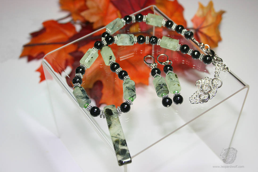 Prehnite And Black Tourmaline Jewelry Set Pt 1 by leopardwolf