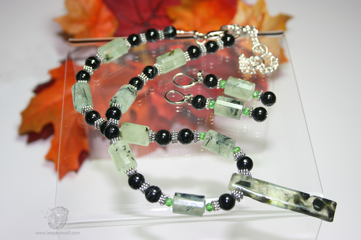 Prehnite And Black Tourmaline Jewelry Set Pt 2 by leopardwolf