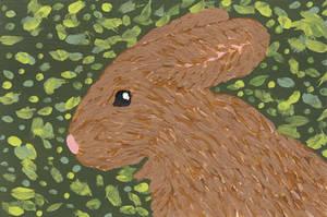 Bunny Green Blotch 1 ATC by leopardwolf