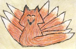 Chibi Ninetails Kitsune ATC by leopardwolf