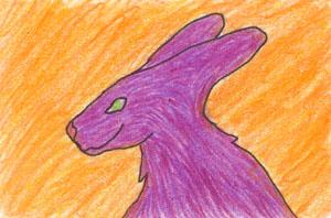 Purple Rabbit Thing ATC by leopardwolf